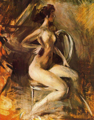 Giovanni Boldini. Nude on a chair
