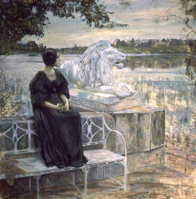 Исаак Израилевич Бродский. Портрет Л.М. Бродской на террасе. 1908