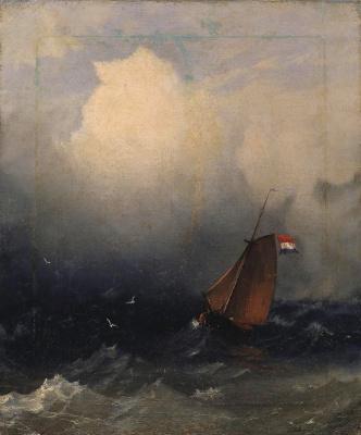 Ivan Aivazovsky. Storm. Sailboat