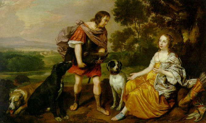 Ian Matins. Portrait of a young man and lady as Meleager and Atalanta