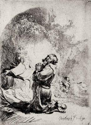 Рембрандт Харменс ван Рейн. Святой Иероним на молитве