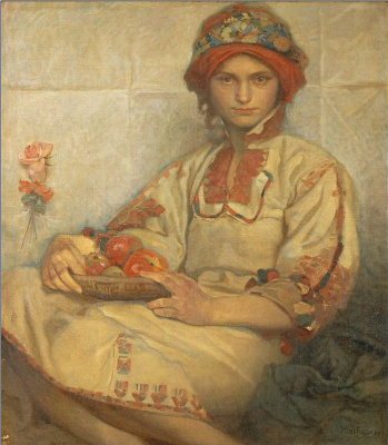 Alphonse Mucha. Croatian girl with apples