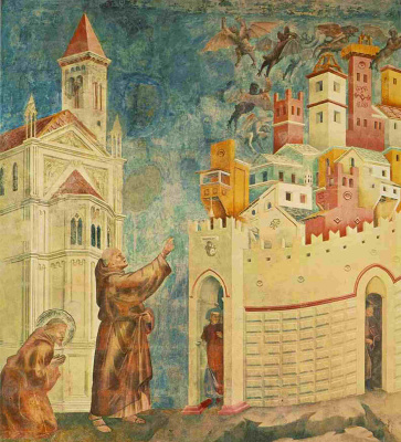 Giotto di Bondone. Exile of the demons in Arezzo. The Legend of Saint Francis