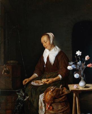 Gabrielle Metsu. Breakfast. The woman breastfeeding a cat