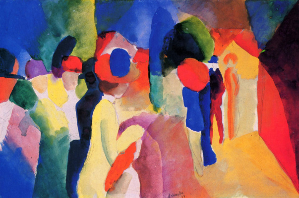 August Macke. In the yellow jacket