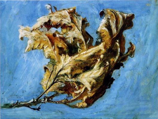 John Ruskin. Quick sketch of dried oak leaf
