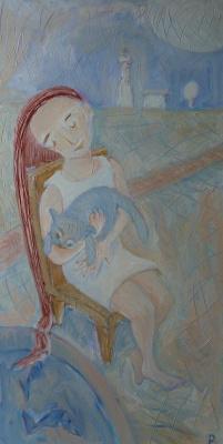 Svyatoslav Ryabkin. Girl and cat Girl and cat