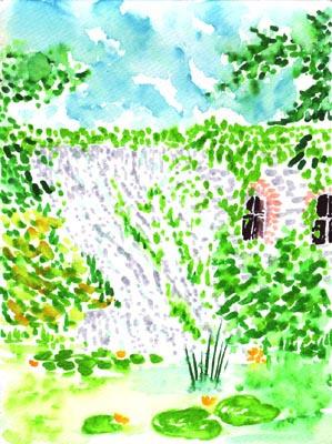 Natalya Garber. Waterfall in the garden
