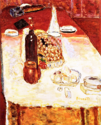 Пьер Боннар. Натюрморт с бутылкой красного вина
