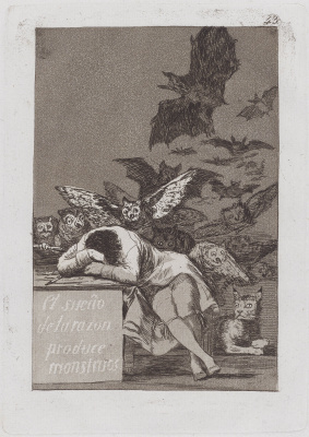 Francisco Goya. The sleep of reason produces monsters (from the series Los Caprichos, sheet 43)