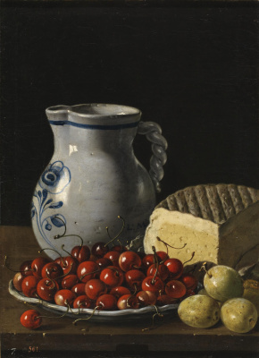 Still life with bowl of cherries, plums, cheese and jug