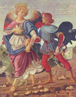 Andrea del Verrocchio. Tobias and the angel
