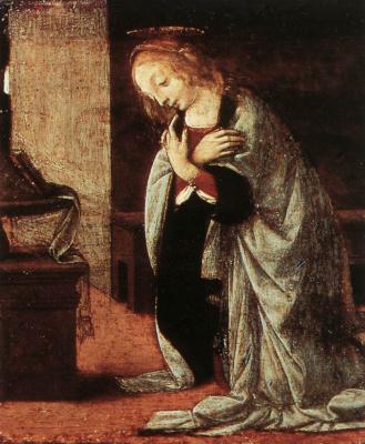 Leonardo da Vinci. The Annunciation (detail)