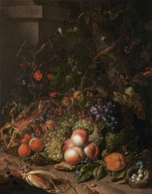 Рашель Рюйш. Натюрморт с фруктами, гнездом птицы и насекомыми