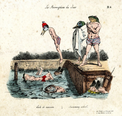 "Jean Inias Isidore (Gerard) Granville. School of swimming. The series ""Metamorphoses of the day"""
