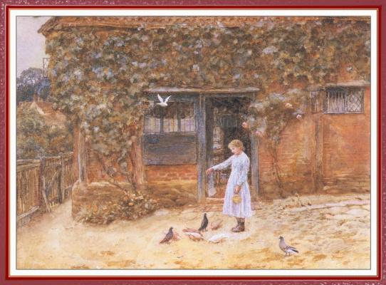 Helen Allingham. Girl with doves