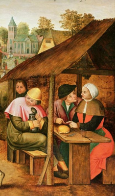 Peter Brueghel The Younger. Dance with the egg. Fragment. Drinkers