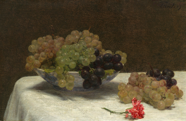 Анри Фантен-Латур. Натюрморт с виноградом и гвоздикой