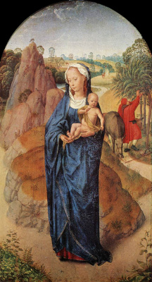Hans Memling. The virgin and child in a landscape