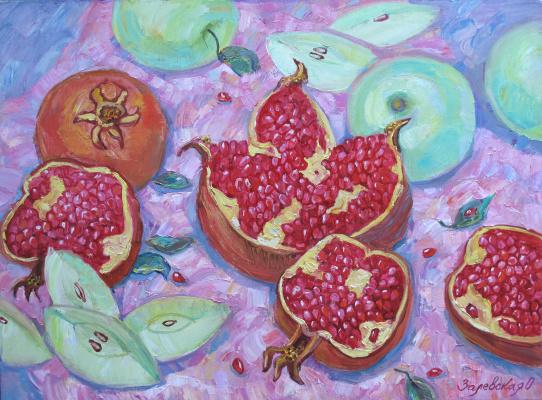 Oksana Viktorovna Zalevskaya. Pomegranates and apples.