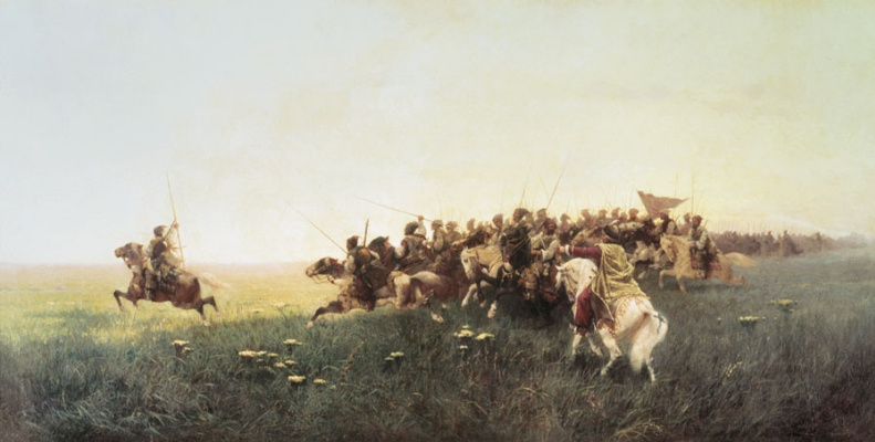 Franz Alekseevich Roubaud. Attack of the Cossacks in the steppe