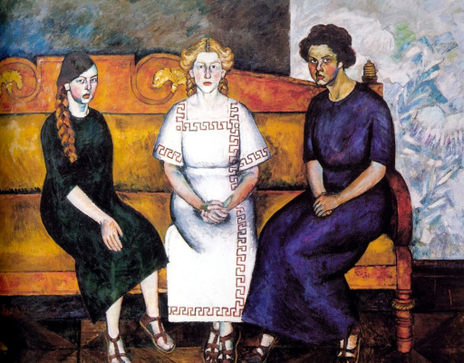 Ilya Ivanovich Mashkov. Three sisters on the couch. Portrait of N., L. and E. Samoylov