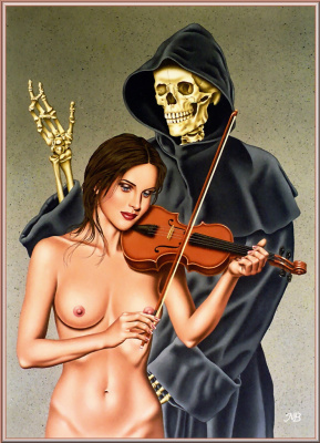 Марк Блантон. Скелет и девушка со скрипкой