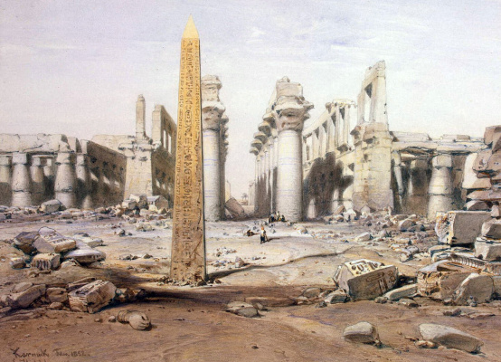 Эдуард Хильдебрандт. Вид руин Карнакского храма
