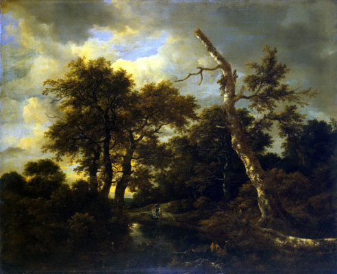 Jakob van Isaacs Ruisdael. River in the forest