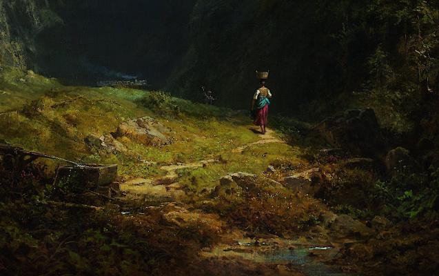 Karl Spitzweg. Alpine valley. Landscape with mount Wendelstein. Fragment