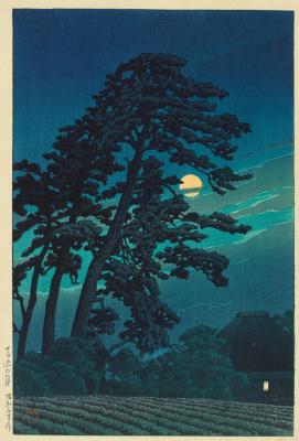 Хасуй Кавасэ. A series of 20 species of Tokyo. 1930 The moon on Umagom.