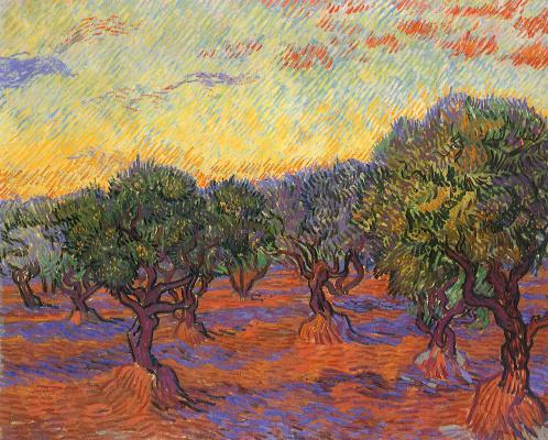 Vincent van Gogh. Olive grove, orange sky