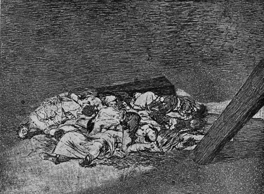 "Francisco Goya. The series ""disasters of war"", page 63: Pile of bodies"
