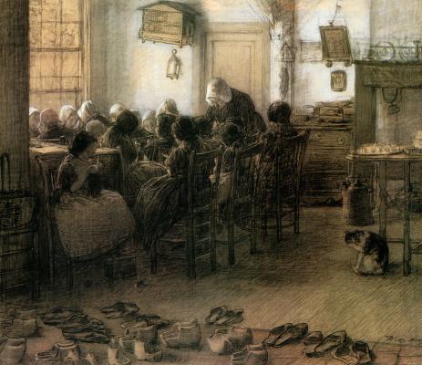 Wilhelmina Valburga Mos. School knitters