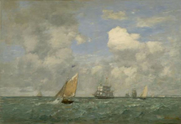 Eugene Boudin. Ships and sailing boats leaving Le Havre