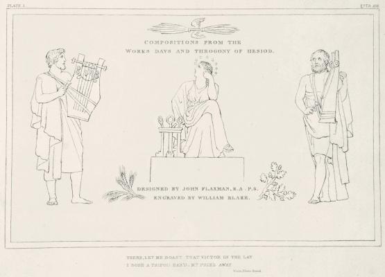 """Уильям Блейк. Иллюстрации к поэме Гесиода """"Труды и дни. Теогония"""". Лист 1"""