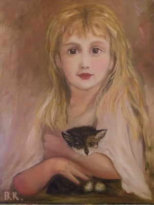 Valeria Kostromina. Girl with a kitten.