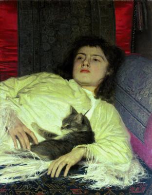 Ivan Nikolayevich Kramskoy. Girl with cat (Sophia Ivanovna Kramskoy)