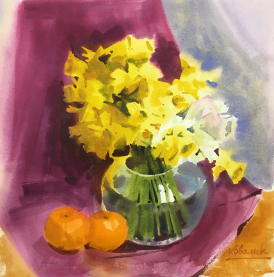 Andrew. Still life with flowers and tangerines