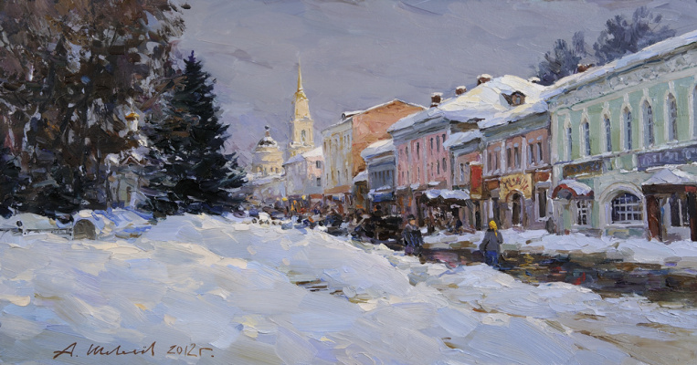 Alexander Victorovich Shevelyov. Winter on the waterfront.Oil on canvas 34,5 # 65 see 2012