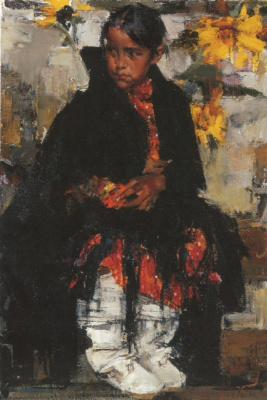 Nikolay Feshin. The girl from Taos sunflower