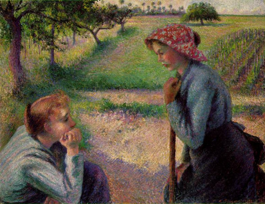 Camille Pissarro. Two young peasant women