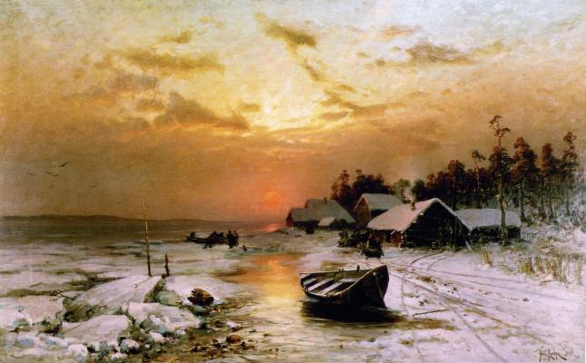 Julius Klever. A winter sunset. (Fishing village)