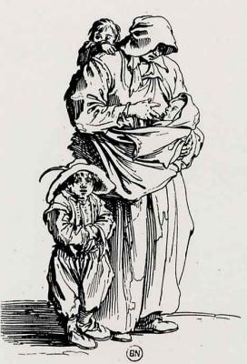 Жак Калло. Нищенка с тремя детьми