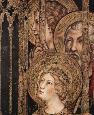 Simone Martini. Maesta, Madonna enthroned as patroness of the city, surrounded by saints, fresco in the Palazzo Pubblico in Siena, detail: Saints