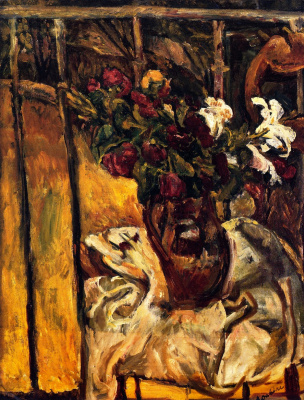 Chaim Soutine. A bouquet of flowers on the balcony