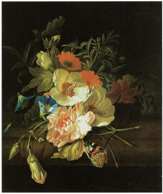 Rachelle Ruysch. Still life with carnations and other flowers