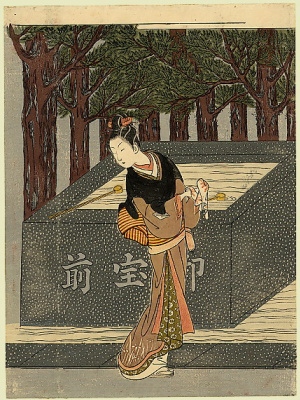 Suzuki Harunobu. The girl wipes her hands before entering the temple