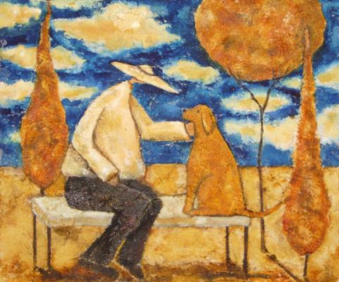 Debi Hubbs. Man and dog