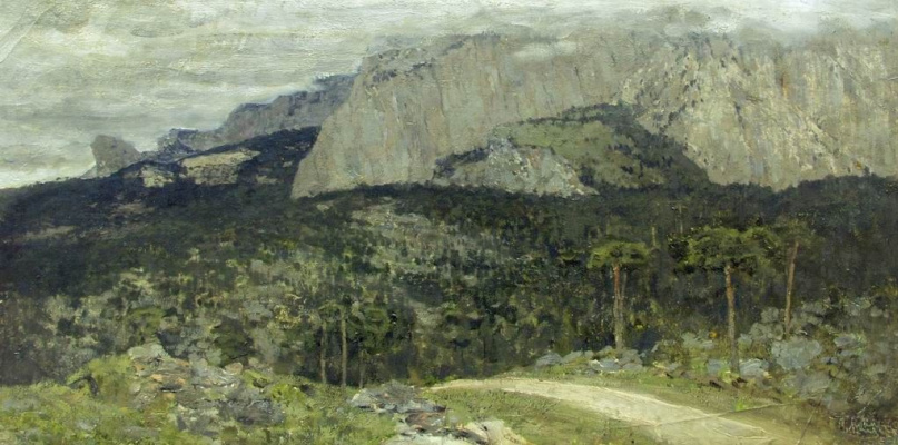 Isaac Levitan. Grey day. Mountains. Crimea